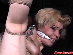 BDSM sub tied by black maledom while gagged