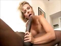 Short hair blonde Brianna gets pussy fucked by giant cock