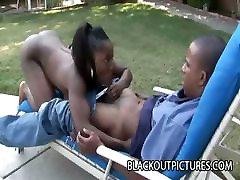 MS Sassi - Wild Ebony Slut Fucking A Black Dick Outdoor