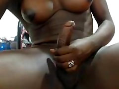Black shemale and her big cock