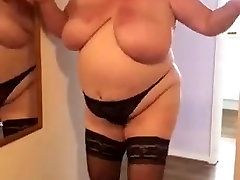 My BBW wife practicing a strip and lap dance