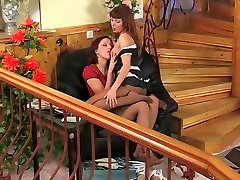 Two hot women sniff and worship each others nylon feet