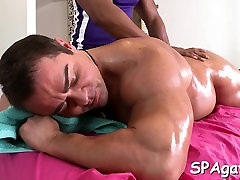 Sexy gay chap is being spooned during sexy massage