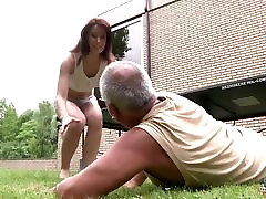 Young girl fucked by old man in her wet pussy and blowjob