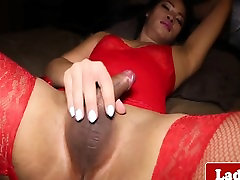 Pigtail ladyboy beauty solo tugging hard cock