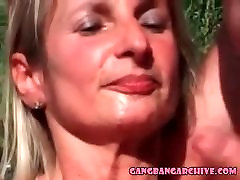 Gangbang Archive mature wife with 10 guys cumming on face