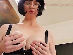 Julia the Naughty Secretary in Hot Black Open Bottom Panties
