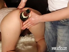 Double fisting and bottle fucking his GF huge pussy
