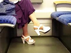 tan nylon feet in white high heels