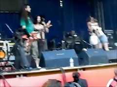 Girl stripped and groped on stage
