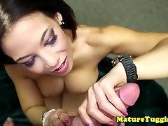 Busty redhead mature tugging on dick
