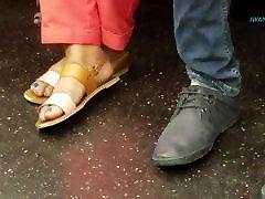Candid ebony feet blue toes