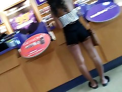 Young black girl showing her booty checks