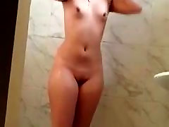 Beautiful Mexican Teen Taking a Shower