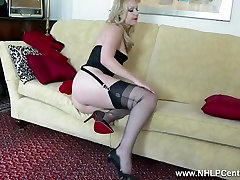 Blonde tease in hot sunnyleone fuck lingerie heels nylons panties wank