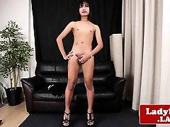 Thai ladyboy masturbates her stiff cock