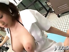 Asian nurse bends butt for cock and endures heavy sex