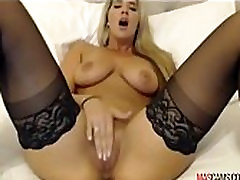 Sexy blonde chick with big tits fingering on webcam - Mascams.com