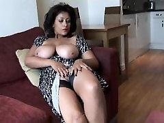 Mature Brunette In Fishnet Stockings Having Anal Sex