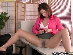 American milf Helena doesn&039;t wear panties at the office