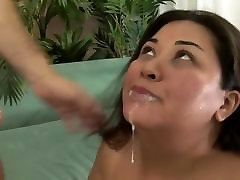 Asian BBW bouncing on big cock