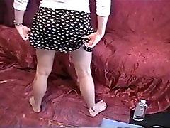 Sexy blonde gives satin panty handjob
