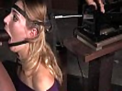 Dominated bdsm sub throat fucked in threesome
