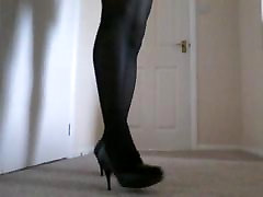 Black nylons and heels