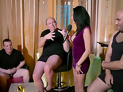 Lots of quite huge bottomed bitches share fat cocks during orgy party