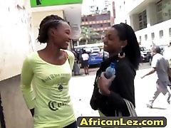 Busty ebony lesbians casual oral session