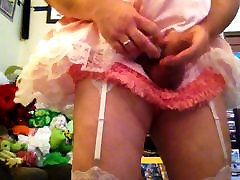 Cumming in sissy pink satin