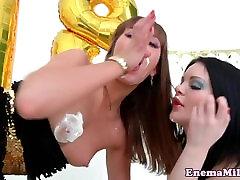 Gaping enema babe stuffed with huge dildo