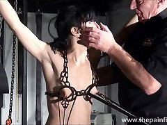 Electro construction worker japanese and feet punishment of slave Elise Graves