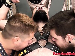 Restrained bear pounding ass in threesome
