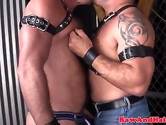 Bdsm Leather bears licking ass in group sex