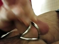 Triple cock ring jerk and cum 1