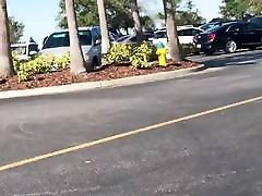 Brandon, FL walking out of mall wide mature granny