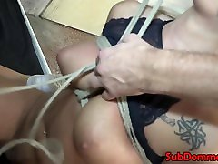 Blonde battle force 5 sub restrained with ropes by dom