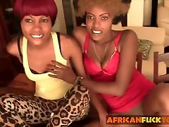 Hot ebony duo sharing a nice white dick in the afternoon