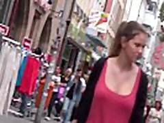 Busty german teen candid bouncing boobs in red top part 2