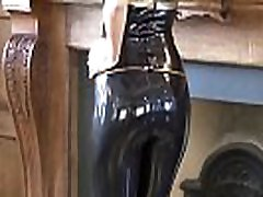 Classy latex babe Jerris solo softcore posing in rubber fetishwear and beautiful