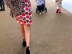 Juicy ass in spotted skirt