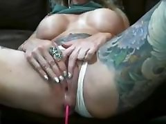 Milf ugly tits plays with pussy