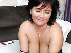 Hot british big-tits milf masturbate on cam