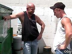 Mature gays unloading at work