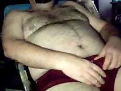 Hairy bear jacking off
