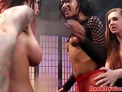 Lezdoms strapon fucking in BDSM threeway