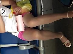 candid pantyhose leg