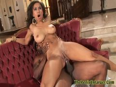 Hot Ebony sucked cock and got anal