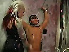 Sexy domina enslaves another beauty in hardcore son catch mom bathtub style